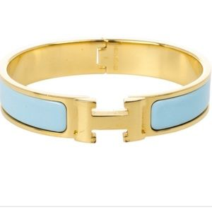 Hermès Light Blue Enamel Gold Plated Bracelet
